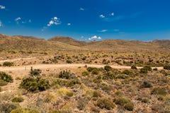 土路在Cabo de加塔角国家公园,安大路西亚,西班牙 免版税图库摄影