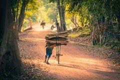 土路的骑自行车者在密林 柬埔寨 库存照片