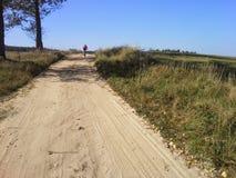 土道路的遥远的MTB骑自行车者 免版税库存图片