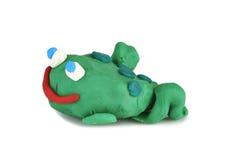 从黏土铸造的儿童的玩具-青蛙 库存照片