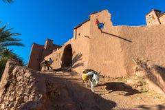 黏土kasbah Ait Benhaddou在摩洛哥 免版税库存照片