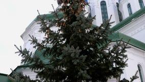 圣三一座堂的片段在基辅 从下来的射击 股票录像