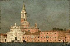 圣乔治教会在威尼斯-葡萄酒 库存照片