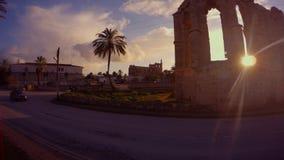 圣乔治被毁坏的拉丁寺庙在法马古斯塔 股票录像