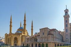 圣乔治马龙派东正教大教堂和莫哈末Al阿明清真寺 库存图片
