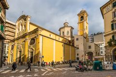 圣乔瓦尼巴蒂斯塔教会在圣多梅尼科,萨沃纳, Lig 库存照片