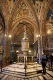 圣乔瓦尼,锡耶纳,托斯卡纳,意大利洗礼池  库存图片