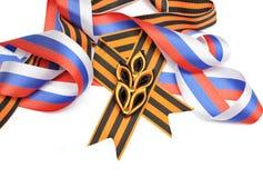 圣乔治俄国旗子丝带和丝带  免版税库存图片