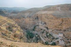 圣乔治修道院,旱谷Qelt峡谷,约旦河西岸,以色列 库存照片