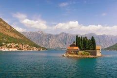 圣乔治小岛  海湾kotor montenegro 免版税图库摄影