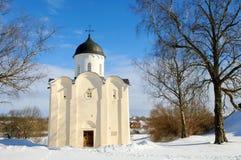 圣乔治教会在Staraya冬天拉多加  库存图片