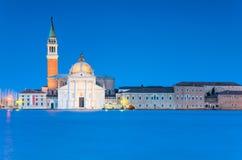 圣乔治海岛在晚上,威尼斯,意大利 库存照片