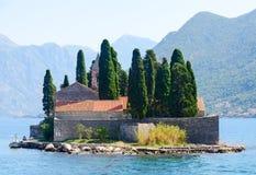 圣乔治海岛(死者海岛),科托尔湾,黑山 免版税图库摄影