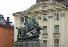 圣乔治雕塑在斯德哥尔摩 瑞典 免版税库存照片