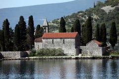 圣乔治, Perast,黑山教会  库存图片