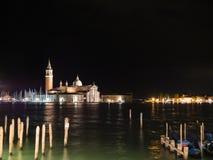圣乔治Maggiore教会在威尼斯,意大利在晚上 免版税库存照片