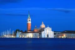 圣乔治Maggiore教会夜视图在威尼斯,意大利 免版税库存照片