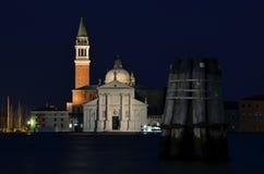 圣乔治Maggiore,威尼斯在晚上 免版税库存照片