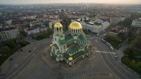 圣亚历山大・涅夫斯基大教堂,索非亚,保加利亚鸟瞰图  图库摄影