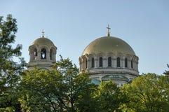圣亚历山大・涅夫斯基大教堂屋顶在索非亚 库存图片