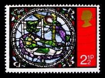 圣人`的`梦想,圣诞节1971年-冰屑玻璃Windows serie,大约1971年 库存图片