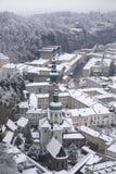 圣伯多禄修道院在冬天,萨尔茨堡,奥地利 免版税库存照片
