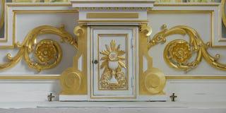 圣伯多禄` s Cheticamp临时房屋天主教  库存图片
