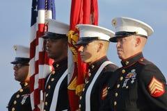 圣佩德罗火山,加州- 2015年9月15日:美国海军陆战队和仪仗队在唐纳德・川普2016共和党总统集会Battl 免版税库存照片