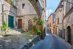 圣佩莱格里诺中世纪区在维泰博,拉齐奥意大利 免版税库存图片