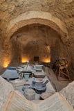 圣保罗修道院的古老餐厅带状闪长岩,埃及 库存图片