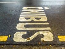 圣保罗公车专道的标志  免版税库存图片
