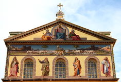 圣保罗在墙壁外,罗马,意大利大教堂  免版税图库摄影