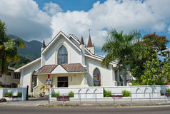 圣保罗大教堂在维多利亚, Mahe海岛,塞舌尔群岛 免版税库存图片