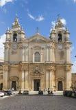 圣保罗姆迪纳的` s大教堂门面马耳他的 库存图片