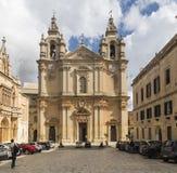 圣保罗姆迪纳的` s大教堂马耳他的 免版税库存图片