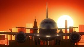 圣保罗市巴西飞机离开地平线金黄背景 库存图片