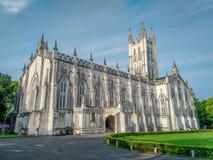圣保罗座堂是为它的哥特式建筑背景说明的英国国教大教堂在加尔各答加尔各答,西孟加拉邦 库存图片