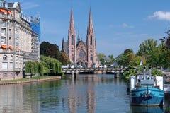 圣保罗教会在Strasburg,法国 库存照片