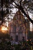 圣保罗教会澳门废墟日落的 免版税库存图片