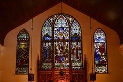 圣保罗的主教制度的教会污迹玻璃窗  免版税库存图片