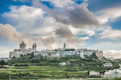 圣保罗的大教堂在Mdina,马耳他 免版税库存照片