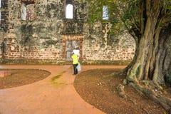 圣保罗的教会是一个历史的教堂在马六甲 图库摄影