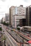 圣保罗,巴西- 2017年11月, 26 在保利斯塔Avenu的星期天 库存照片
