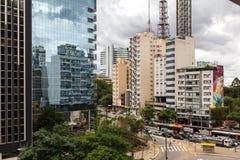圣保罗,巴西- 2017年11月, 26 在保利斯塔Avenu的星期天 免版税图库摄影