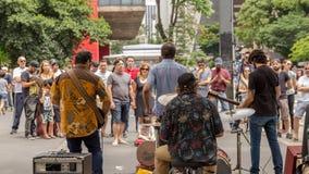 圣保罗,巴西- 2017年11月, 26 在保利斯塔Avenu的星期天 库存图片