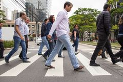圣保罗,巴西- 2017年11月, 01 在downt的步行小条 库存图片
