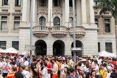 圣保罗,巴西- 2017年10月, 20 大学生人群上街游行城市的 免版税库存照片