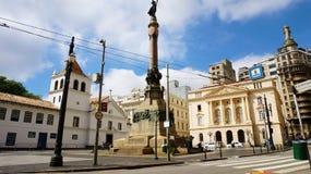 圣保罗,巴西- 2019年5月9日:露台在圣保罗街市,巴西做Colegio广场 库存图片