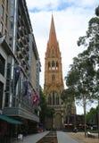 圣保罗` s大教堂在街市墨尔本 从城市广场的看法 库存照片