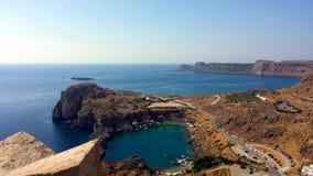 圣保罗` s海湾在Lindos,罗得岛,希腊 库存照片